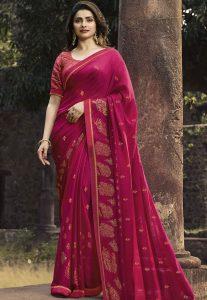 Pink and gold saree
