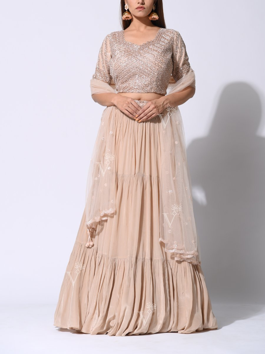 Unique Modern Day Lehenga in Champagne Hue & Tikki Work Blouse