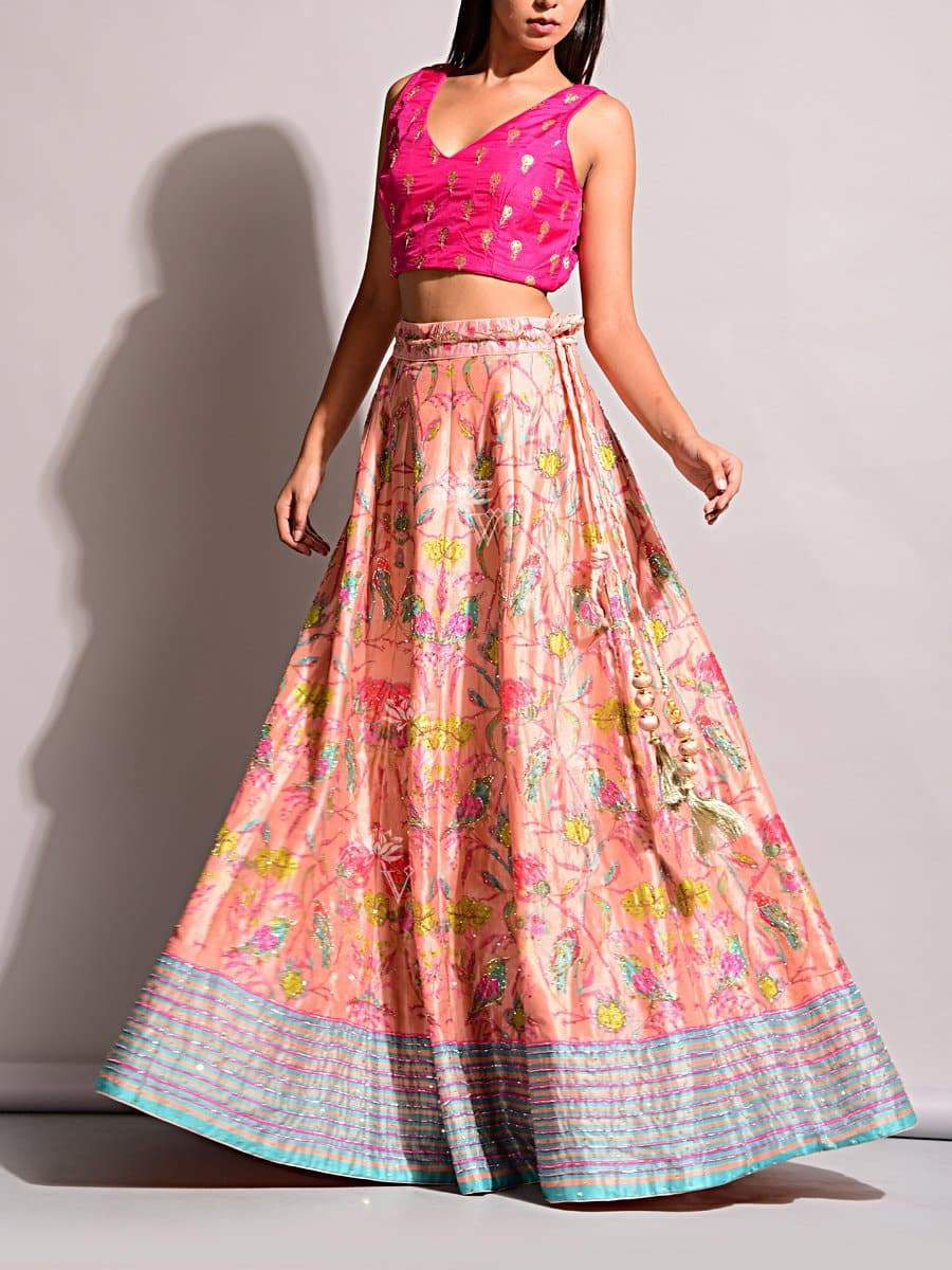 Pink Natural Silk Lehenga with Trendy Colorful Play