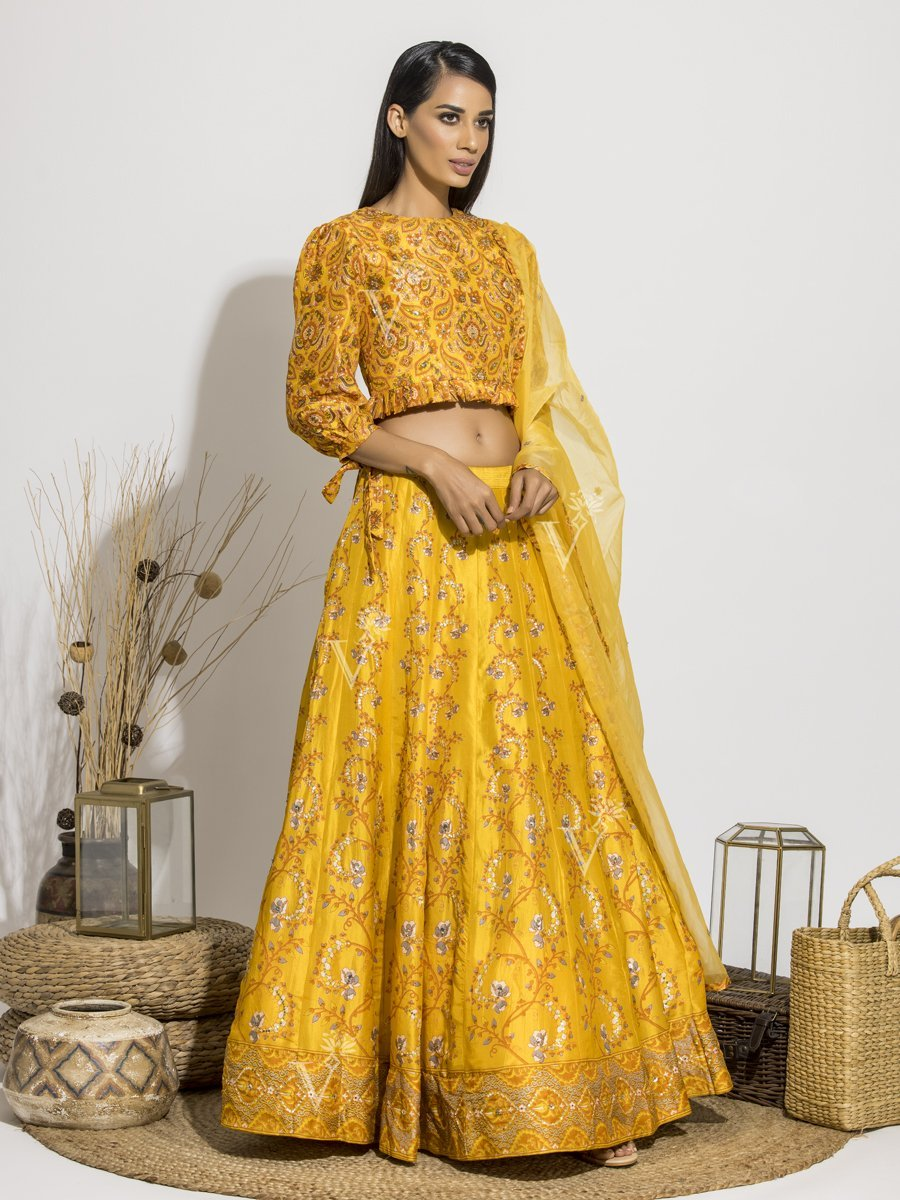 Sun Yellow Pearl Brush Lehenga with Crop Top