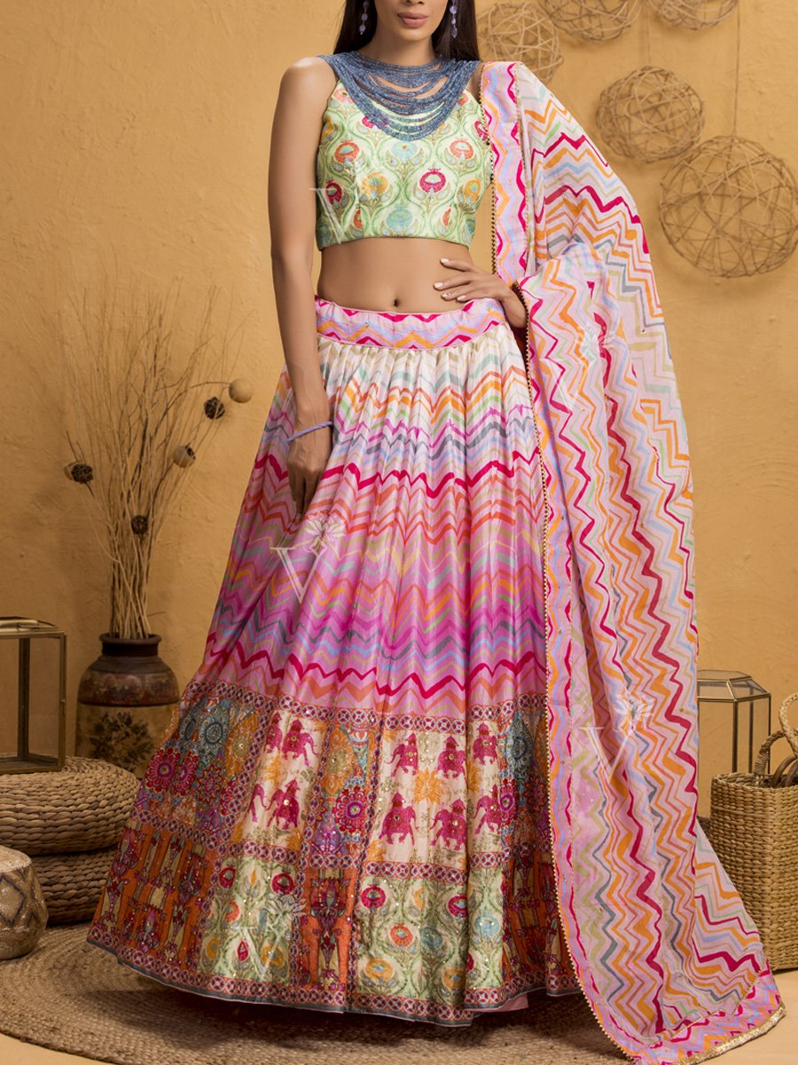 Heritage Inspired Lehenga with Halter Neck Blouse