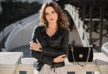 women wearing a leather jacket