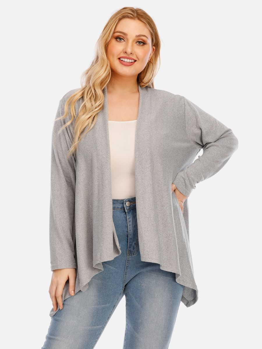 Plus Size Irregular Knitting Cardigan