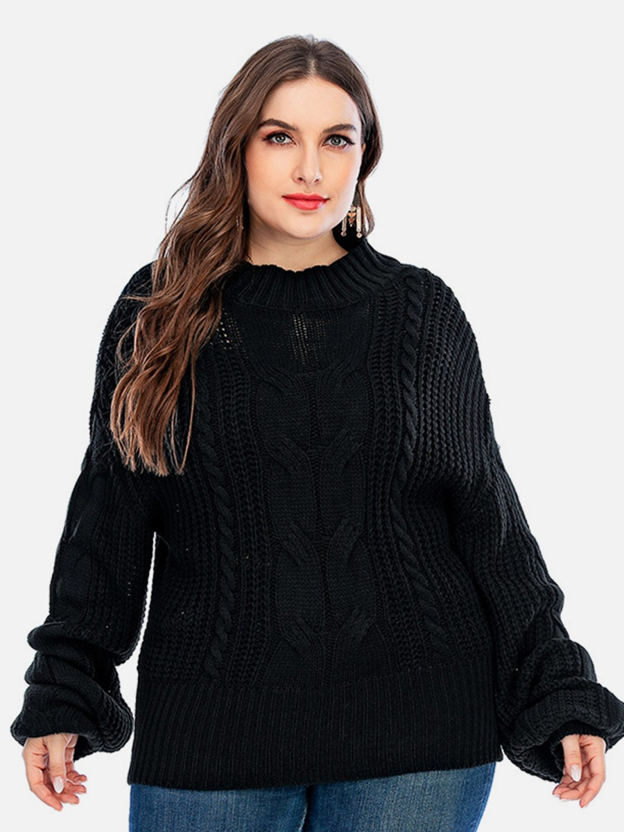 Plus Size Batwing Sleeve Loose-knit Sweater