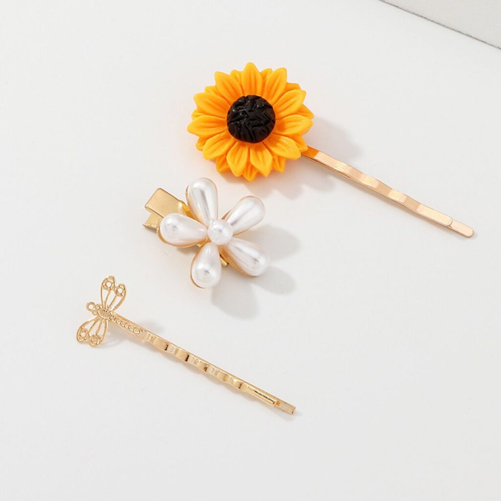 Cute Pearl Flower Sunflower Dragonfly Hairpin
