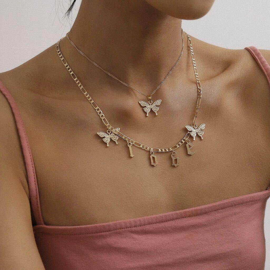 Alphabet Butterfly Pendant Necklace