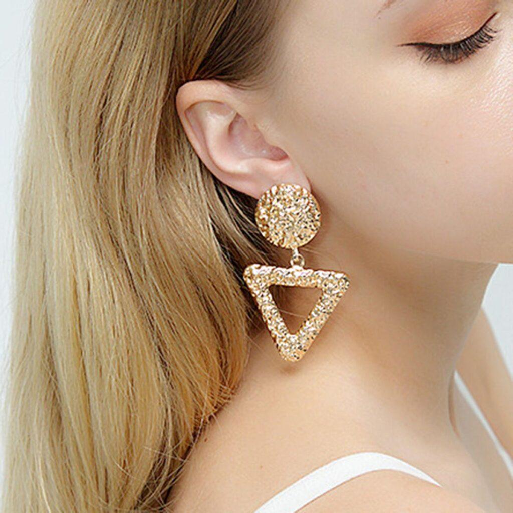 Geometric Triangle Alloy Pendant Earrings