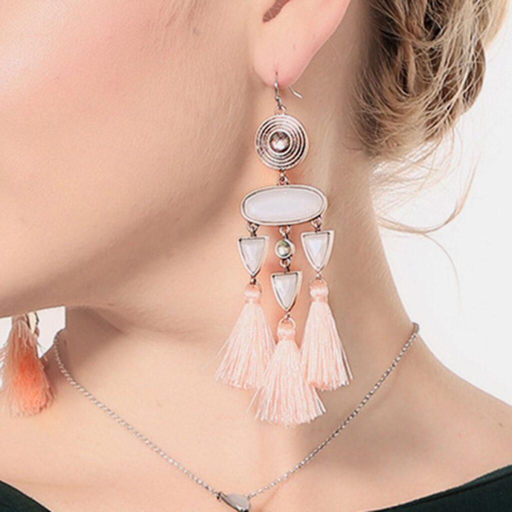 Geometric Gemstone Alloy Tassel Earrings