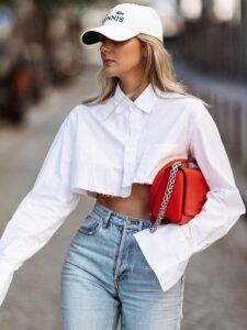 Solid Color Single-breasted Cropped Shirt
